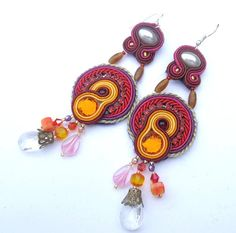Dangle Earrings Soutache Jewelry Embroidered Fall by IncrediblesTN, $39.00