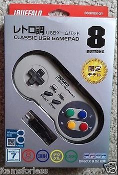 Buffalo 8 Button Nintendo Style Wired Turbo Controller USB for Computer PC NEW