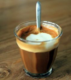 "In Spain ""café cortado"" is a (double) espresso with a little milk to reduce the acidity."