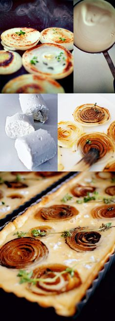 Caramalised-onion-and-Goats-cheese-tart (I goat cheese!) by aurelia Tart Recipes, Appetizer Recipes, Cooking Recipes, Appetizers, Quiches, Empanadas, Onion Tart, Onion Pie, Goat Cheese Recipes