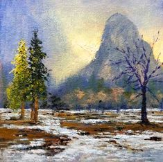 Donald Neff - Cathedral Glow, 6x6,oil on panel. $250. The setting sun glowing through Cathedral Rock in Yosemite Valley.