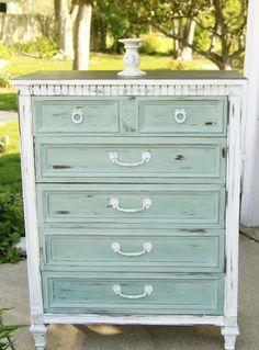 Dresser Refurbish: white case, pale turquoise drawers, white hardware. Looks good!