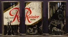 Rainier Party Series (1953-1956) - Beer Garden  (beer kegs, pretzel, people seated at a table)     http://www.rustycans.com/Graphics/Jubilee-garden.jpg