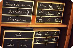 by athriftymrs.com - these are IKEA Moppe drawers with blackboard paint
