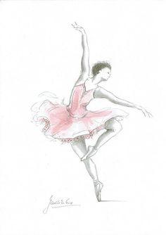 Ballerina Art Ballerina Print Ballerina Picture Pink by EwaGawlik Ballerina Drawing, Dancer Drawing, Ballet Drawings, Dancing Drawings, Cute Drawings, Art Ballet, Ballerina Painting, Ballet Dancers, Ballerinas