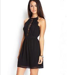 Eyelash Lace Black Halter Dress
