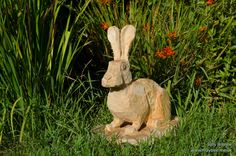 How about a cute little hare Chainsaw carving to hide among your flowers? #chainsawcarving #sculpture #wildlifeart #artist #garden #gardendesign #woodworking #carving #wood #art #hare