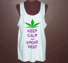 Image of Keep Calm And Smoke T Shirt White Screen Women Tank Top Lady Singlet Vest Tops Work Out Tee