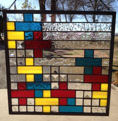 Contemporary Stained Glass Panel - Colorful Geometric Plus or Minus (PLG048) by PeaceLuvGlass on Etsy https://www.etsy.com/listing/176437164/contemporary-stained-glass-panel