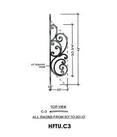 Tuscany Panel Piece C3 Curved Panel, Fits Angles 20° to 36° 10″ wide 42″ tall 1/2″ Square Iron This is the Tuscany C3 wrought iron panel made by Regency Railings. It is a curved panel that fits angles 20° to 36°