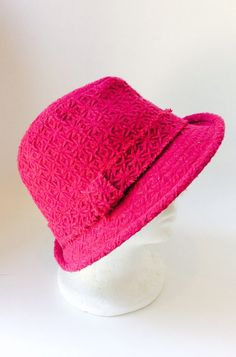 24141f7a03a Vintage Wool Fuchsia Fedora Hat Star Floral Like Pattern Textured Bright  Deep Pink Color Women s Hats Structured 90 s Style Flower Power