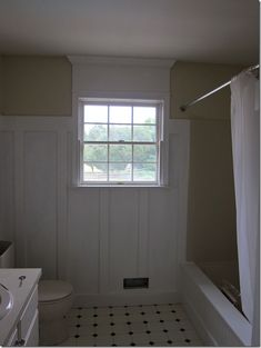 Paint-color-on-walls-to-mat.  Great tips for painting wainscoting. Note where surround meets wainscoting. Her's is beige, so if I choose white, it will be an even smoother transition.