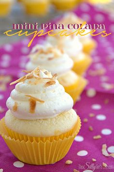 Mini Pina Colada Cupcakes, cute and tiny, pineapple cake topped with coconut rum spiked buttercream! Toasted coconut for garnish and crunch, Heaven! - ThisSillyGirlsLife.com #PinaColada