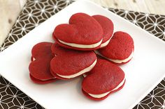 Red Velvet Heart-Shaped Whoopie Pies!  Totally making these for the hubby