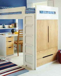 If the bedroom is really small, buy a raised bed that can house everything from a wardrobe to a desk beneath. Farringdon high sleeper with desk from Aspace.
