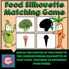 Food Silhouette Matching Game by Early Childhood Resource Center Teacher Created Resources, Preschool Lesson Plans, Alphabet Worksheets, Education English, Matching Games, Different Recipes, Early Childhood, Silhouette, Activities