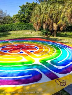 The Peace Labyrinth that was offered to walk during the Labyrinth Society Annual Gathering last weekend in Florida. Canvas labyrinth from Paths of Peace, painted by Steve Selpal for Riviera UCC church in Palm Bay, FL