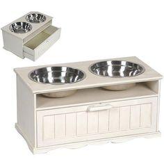 Dog Feeding Station Two 3-quart Stainless Steel Bowls White - Dog Bowls -New