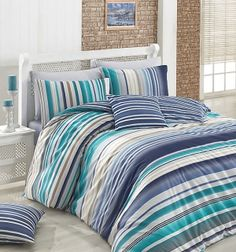 Dose Of Modern Marino Ranforce Double Quilt Cover Set (ES) - White Turquoise Blue Beige Double Quilt, Single Quilt, Quilt Cover Sets, Home Collections, Comforters, Duvet, Quilts, Blanket, Modern