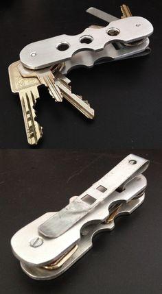 My DIY / EDC key organizer made from aluminum with pocket clip and nail file… Edc Keychain, Keychain Tools, Keychains, Edc Gadgets, Key Storage, Combat Knives, Key Organizer, Edc Tools, Edc Gear