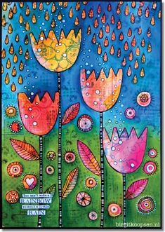 Colourful art journal page by Birgit Koopsen for Carabelle Studio