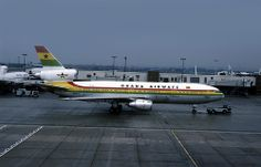 A Ghana Airways McDonnell-Douglas DC-10-30 (registered as 9G-ANA) taxiing at London-Heathrow International Airport