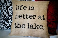 Burlap Cabin Pillow  Lake or Cabin by JoaniesFavoriteThing on Etsy, $32.00