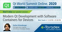 7 days to go for the #Qt World Summit 2020! Don't miss our technical speaker session on 'Modern Qt Development with Software #Containers for Devices' by #StefanEichenberger. Register today. #QtWS #QtWorldSummit #embeddedsystems #Torizon Software Development, Engineering, World, Day, Mechanical Engineering, Technology, The World, Earth