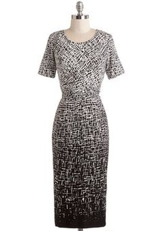 You've Got It Fade Dress. You truly value the way a great dress makes you feel, which is why youre thankful to have found this black and white sheath. #multi #modcloth