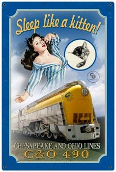 Chessie Kitten Train Metal Sign
