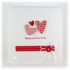 Stamps: I (Heart) Hearts, Teeny Tiny Wishes  Paper: Confetti White, Real Red,  Ink: Real Red,  Accessories: Dotted Scallop Ribbon Punch, Red Button, White crochet thread, Cherry Cobbler Dazzling Details (love it!!), dimensionals, Heart to Heart punch