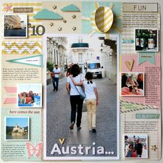 Austria by DeanaB at Studio Calico.  Love the magazine feel of this LO.