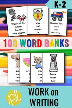 Writing Centers for first grade - Print once and this writing center is ready for the entire school year! My students rotated to Work on Writing during Daily 5 and LOVED using these word bank writing cards. Based on first-grade favorite characters and topics! From Positively Learning Blog #dailyfive #writingcenters #wordbanks