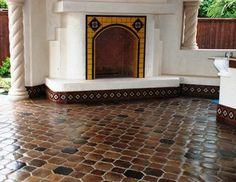 Manganese Riviera Pattern Saltillo mediterranean floor tiles