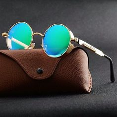 05c78a893 Details about New Vintage Polarized Steampunk Sunglasses Fashion Round  Mirrored Retro Eyewear