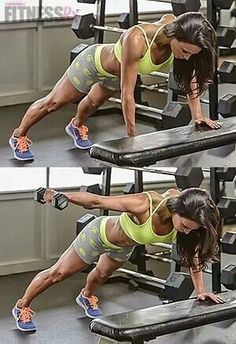Bench plank with one arm extension - take your weight lifting up a notch!