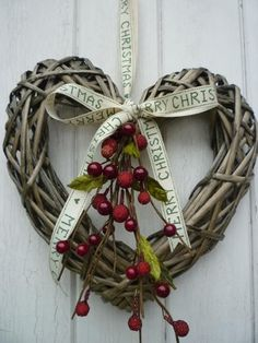 Simple heart wreath for Christmas