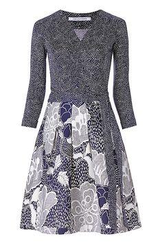 DVF Jewel Silk Combo Wrap Dress in Dream Dot Midnight/ Flower Power