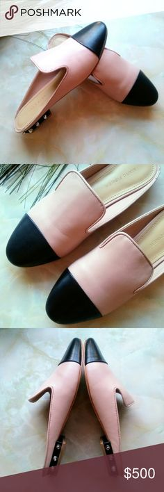"""🍬Coming Soon~ Marc Fisher studded heel mules Marc Fisher studded heel mules flats. Size 7.5  A capped toe and studded heel. Round toe. Slip-on mules flats. Notched details at upper. Studding details at heel.   Leather upper Color- Pink multi leather 1/2"""" heel  New with in box Marc Fisher Shoes Mules & Clogs"""
