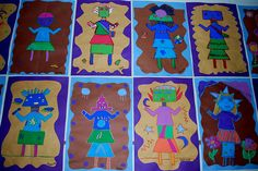 Kachina dolls- Construction paper folded in half then students added wavy edge cut on pencil while folded. Shapes where then added and the fold was used for line on symmetry. Students focused on geometric shapes, outlined with oil pastels, then painted with tempera paint.
