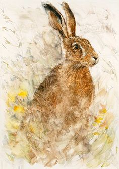 hare painting - Gary Benfield - Waiting