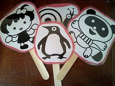 black and white printables for babies- make puppets for practicing tracking with baby