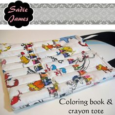 Download Coloring Book & Crayon Tote Sewing Pattern | Toys & Activities Sewing Patterns for Download | YouCanMakeThis.com