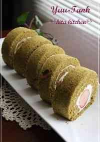Strawberry and Sakura Matcha Roll Cake for Girls' Day