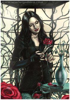 Morticia Addams fan art by Scarlet Gothica Morticia Addams, Gomez And Morticia, The Addams Family, Adams Family, Arte Horror, Horror Art, Dark Fantasy, Fantasy Art, Dragons
