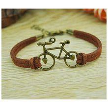 Corda di cuoio dei monili delle donne dell'annata braccialetti di fascino personalizzato handmade della corda catena della bicicletta della bici braccialetto dell'involucro del polsino del braccialetto a buon mercato(China (Mainland))