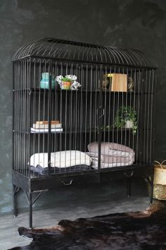 Antiqued Iron Bird Cage Style Display Shelving Unit