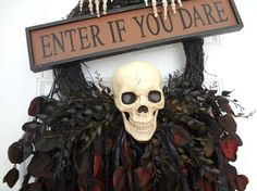 creepy skull wreath spookyspaces, crafts, halloween decorations, seasonal holiday d cor, wreaths