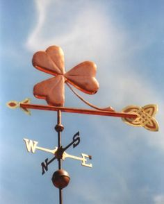 Lucky Clover Leaf Weather Vane by West Coast Weather Vanes.  This handcrafted lucky clover or Shamrock weathervane can be custom made using a variety of materials.
