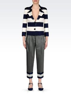 Emporio Armani Women Two Buttons Jacket - JACKET IN STRIPED MILANO RIB Emporio Armani Official Online Store